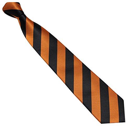 Schmale Krawatte 7cm Streifen College Design Schwarz Orange gestreift - Binder Gewebte Microfaser Seiden-Optik - Herrenkrawatte z Anzug - Herren Schlips (Krawatte Cambridge Seide Gewebte)