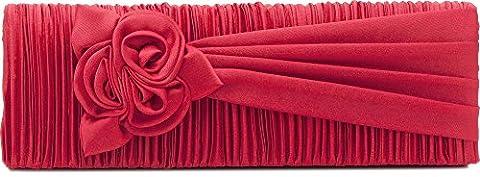 Clutch, Umhängetasche, Unterarmtasche aus Satin mit Raffung und hochwertige Blumen Aplikation mit abnehmbarere Kette (120 cm), Farbe:Rot (Koralle)