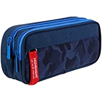 Maomaoyu Large Capacity Pencil Case for Boys and Girls, Zippered Triple Pocket Lightweight Waterproof Canvas Pencil Cases, Navy Blue
