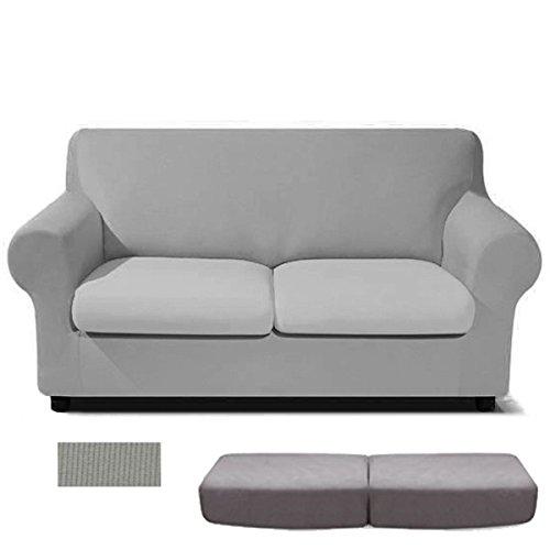 Takestop® Juego 2Piezas Par Cojín Asiento gris cubierta para cojín 2plazas indio sofá sillón tinta unita