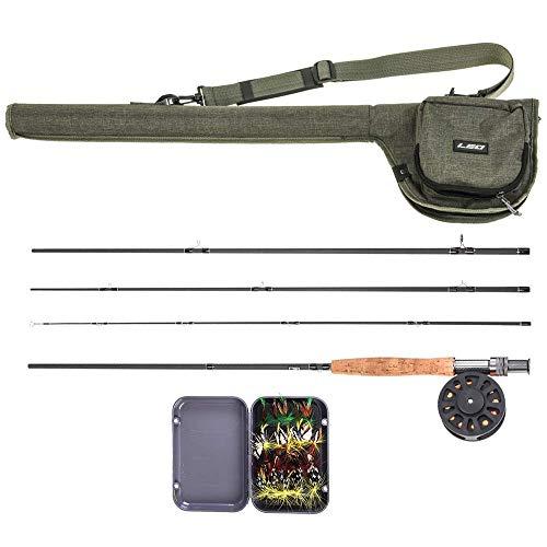 Lixada 9 'Fly Angelrute und Reel Combo mit Tragetasche 20 Fliegen Komplettes Starterpaket Fly Fishing Kit