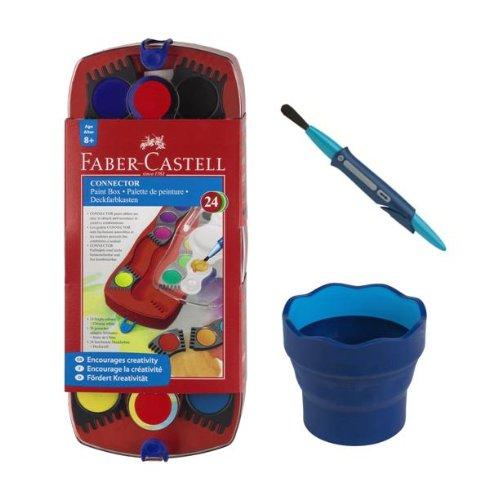 Faber-Castell-Farbkasten-Set 4, mit 24 Connector-Farben, blauem Wasserbecher und Clic-&-Go-Pinsel
