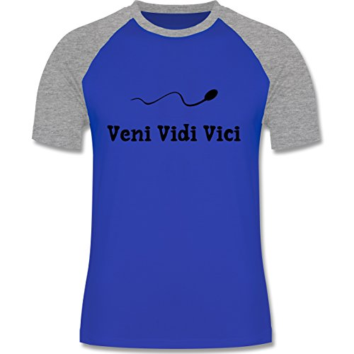 Symbole - Veni Vidi Vici - zweifarbiges Baseballshirt für Männer Royalblau/Grau  meliert