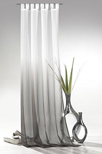 heimtexland ® Schlaufenschal m. Farbverlauf in grau braun HxB 245x135 cm Voile transparent - ÖKOTEX geprüft - Gardine Vorhang Dekoschal Typ501