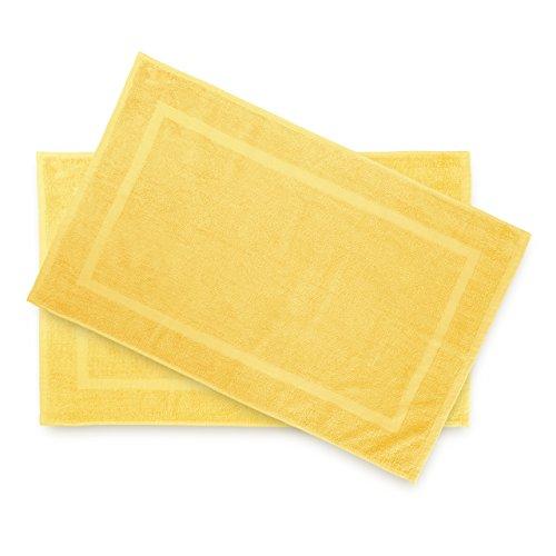 Lumaland Premium 2er Set Badematte Frottee 50 x 80 cm aus 100 % Baumwolle 650 g/m² rutschfest waschbar gelb
