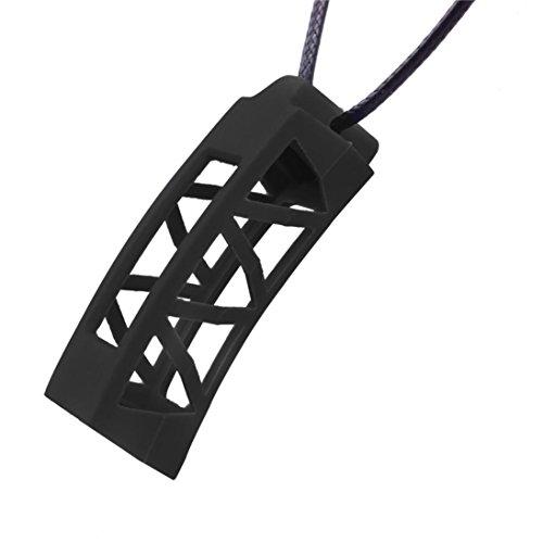 Transer® Halskette Design-Silikon Anhänger Ersatz für Fitbit Alta tracker- Sleep Fitness Monitor Armband Zubehör Regulierbar schwarz Fitness-halskette