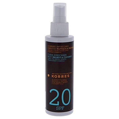 Korres Walnut und Coconut Transparentes Sonnenspray für den Körper SPF 20, 1er Pack (1 x 150 ml) - Natürlicher Sonnenschutz