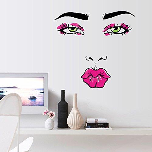Girl Lippen Auge Wandaufklebern Schlafzimmer 3D-Wand Aufkleber Diy Home Dekoration Wand Kunst Poster ()