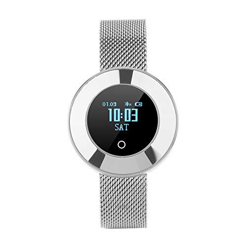 Vbestlife Elegante Pulsera Reloj Inteligente Bluetooth a Prueba de Agua Monitor de Presión Arterial/Oxígeno/Frecuencia Recordatorio de Llamadas Seguimiento Deportivo (Silver)