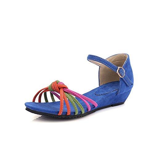 Odomolor Donna Punta Aperta Tacco Basso Colore Assortito Pelle Di Mucca  Sandali Azzurro