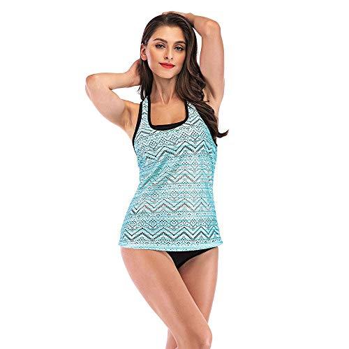 Gotimal Damen Zweiteiler Tankini Badeanzug Set Racerback Mesh Bikini Top mit Triangel Shorts Bademode Blau M -