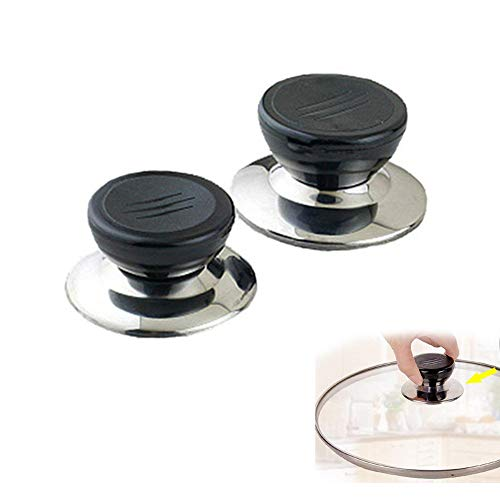 2pcs Chytaii Tirador para Tapa de Olla Recambio Repuestos Accesorio Utensilios de Cocina Mango de Tapa Reemplazable Pomo de Tapa para Cacerola Accesorio de Cocina 5.3 * 7CM