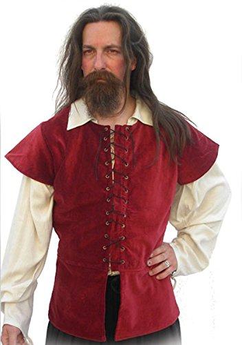Dark Dreams Gothic Mittelalter Pirat Jacke Weste Alastair Wams SAMT Baumwolle rot schwarz grün S M L XL, Größe:XXL, Farbe:Bordeaux -