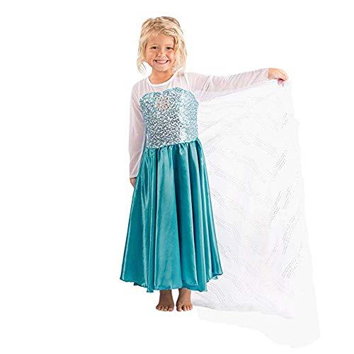Schnee Kostüm Prinzessin Königin - Kostümparty Kostüme Prinzessin Cosplay Kleid Schneeflocke Partykleid Königin Kostüm Schnee Prinzessin Kleid - 3-7 Jahre Mädchen Rollenspiel Kostüme (Größe : S (100-110cm))