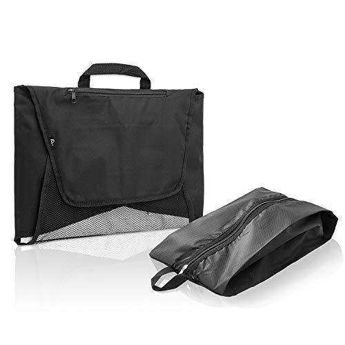Amazy Hemdentasche inkl. Falthilfe + Gratis-Schuhtasche - Praktische Kleidertasche für das knitterfreie Transportieren von bis zu 7 Hemden und Blusen im Koffer oder im Handgepäck (schwarz)