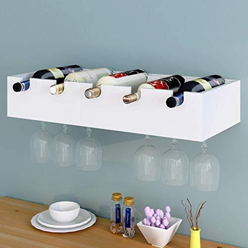 Hisunny Weinregal, modernes Weinregal, zum Aufhängen an der Wand, kreatives Weinregal, Restaurant-Ablage, 2 Farben zur Auswahl der Küche a Weiß