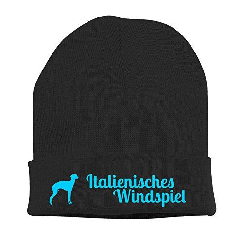 Strickmütze - ITALIENISCHES WINDSPIEL Italien Italian Greyhound Windhund - Stickerei Hund Winter Mütze Wintermütze Beanie Mütze Siviwonder schwarz-türkis