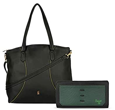 Baggit Women's Handbag with Wallet (Black) (Set of 2)