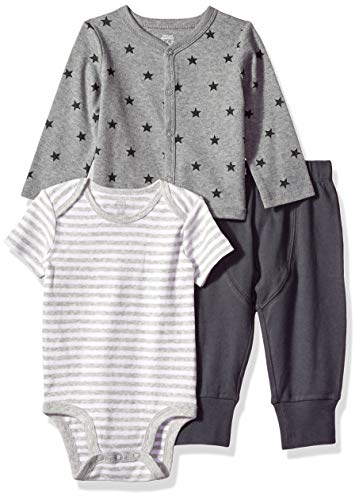 6d250be085bec Amazon Essentials 3-Piece Cardigan infant-and-toddler-layette-sets, Uni  Star Stripe Neutral, 18M