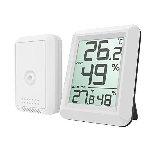Galleria fotografica AMIR Igrometro Termometro, Termo Igrometro da esterno per interni Digitale da esterno per temperatura e umidit¨¤ Monitor con sensore esterno wireless e ampio display LCD, interruttore ¡æ / ¨H