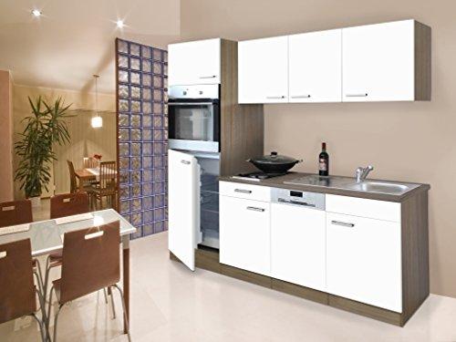 respekta Einbau Single Küche Küchenblock Küchenzeile 205 cm Eiche York weiß Ceran