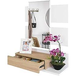 Recibidor Colgante - Mueble de Entrada con Cajón, Espejo y Estante de Estilo Nórdico y Moderno, Muy Resistente y Estable, de Color Blanco y Roble