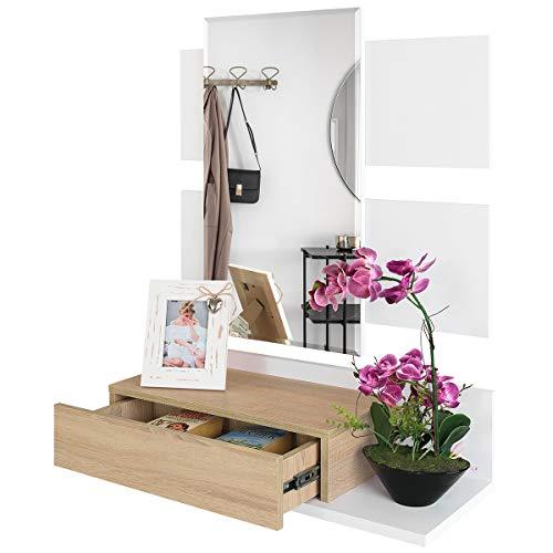 COMIFORT Recibidor Colgante - Mueble de Entrada con Cajón, Espejo y Estante de Estilo Nórdico y Moderno...
