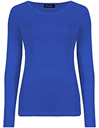 eeeaf73ed4290e ZET New Ladies Plus Size Long Sleeve T-Shirt Womens Stretch Plain Top Sizes  8
