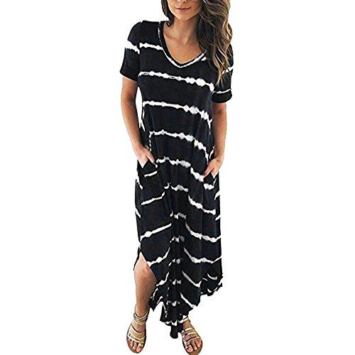 Kinlene Vestidos Largos, Vestidos Mujer Verano 2018 Vintage Mujer Rayado Bohemia Vestido,Casual Playa Falda