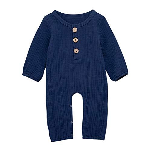 LEXUPE Neugeborene Baby Boy Girl Baumwolle Leinen Feste Strampler Overall Kleidung Outfits(Blau,100)