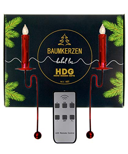hdg haus-der-geschenke Baumkerzen kabellos - 6er Set LED Kerzen mit Balancehalter rot, Kerzenhalter im Set:Kerzenhalter mit Baumkerzen in rot