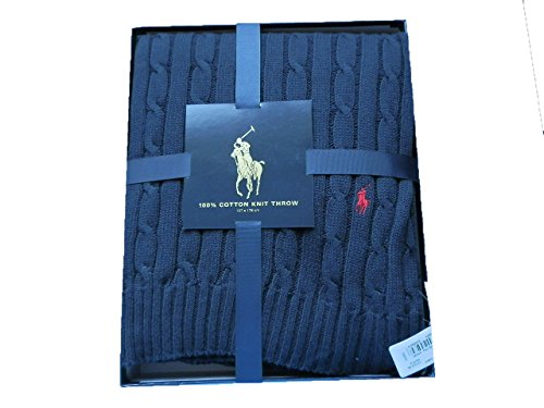 Polo Ralph Lauren Home Kabel Überwurf Marineblau Geschenk-Box jk75, 100 % Baumwolle, blau, Einheitsgröße (Polo Watch Lauren Ralph)