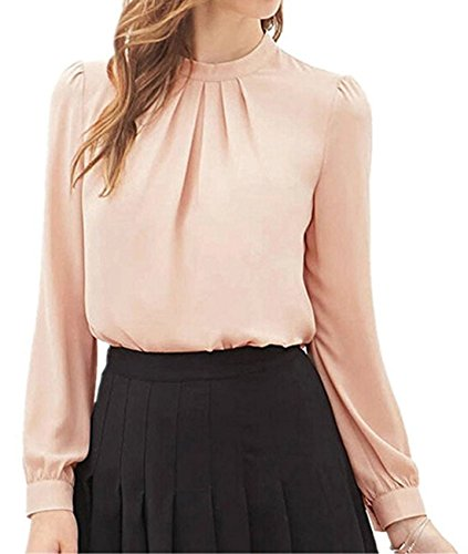 Lhwy donne piegare sciolto casual maniche lunghe in chiffon camicia top camicetta (l, rosa)
