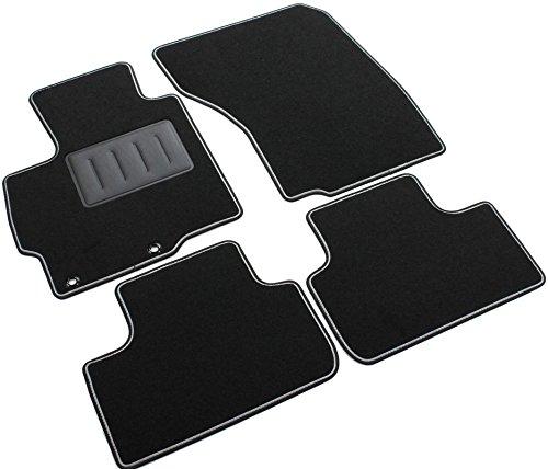 Il Tappeto Auto - Alfombrillas de moqueta antideslizante, color negro, borde bicolor, talonera reforzada de caucho