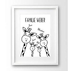 Bild mit personalisierten Namen Familie Giraffe Poster schwarz weiß A4 OHNE Rahmen lustiges Geschenk