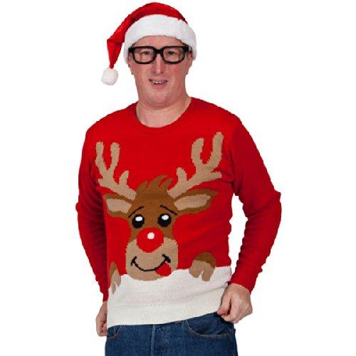 Wicked - Maglione con renna, costume da uomo, taglia: XL, colore: Rosso