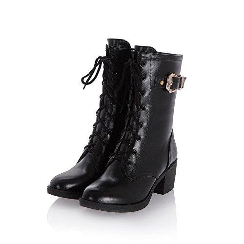 AgooLar Damen Wedges Rein Rund Zehe Weiches Material Reißverschluss Stiefel, Silber, 39