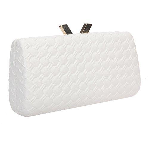 Bonjanvye Kiss Lock PU Leather Weave Handbags For Women Blue Ivory