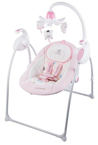 Lionelo Robin Baby Wippe, Babyschaukel Elektrisch mit Liegefunktion, Baby Schaukel 0-9kg, Moskitonetz, App-gesteuert (Rosa)