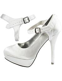 Amazon.es  Blanco - Zapatos de tacón   Zapatos para mujer  Zapatos ... 03b66d99c02c