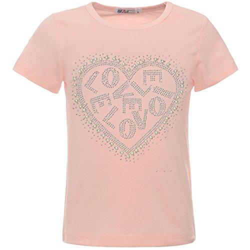 BEZLIT Mädchen Kinder Glitzer T-Shirt Oberteil Herz Kunst-Perlen 22540 Rosa 140