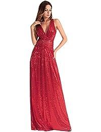 HUAN Princesa V Cuello Vestidos para Mujeres, Vestido de Noche de Dama de Honor Sexy