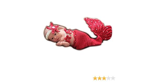 Odziezet Baby Fotografie Requisiten Strickwoll Meerjungfrau Seestern M/ädchen Kost/üm Outfits f/ür Kinder 0-4 Monate