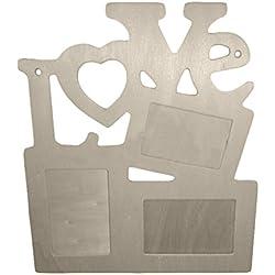 Mcitymall77-DIY Marco de fotos de bricolaje amor romántico,de madera,palabra LOVE(carazón),color blanco,15.5*16.5cm