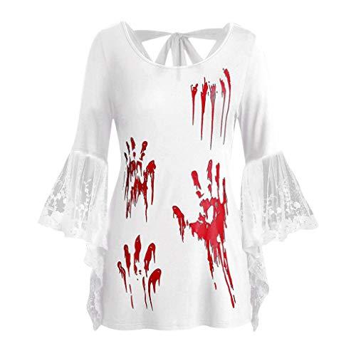 GOKOMO Halloween Top Spitze Schwarz Damen Langarm Top-GeöFfnete ZurüCk Geknotete Backless HüLse DüNne T-Shirt Blut Handabdruck(Weiß,XXXXX-Large)