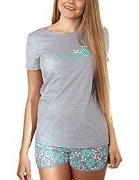 Babella 3053-1 Pijama De Dos Piezas Para Mujeres Camiseta De Manga Corta Shorts Floral - Hecho En La UE