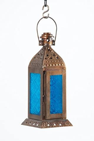 Aqua Blue & Antique Brass Marrakech Lantern / Candle Holder with Hinged Door - Home & Garden