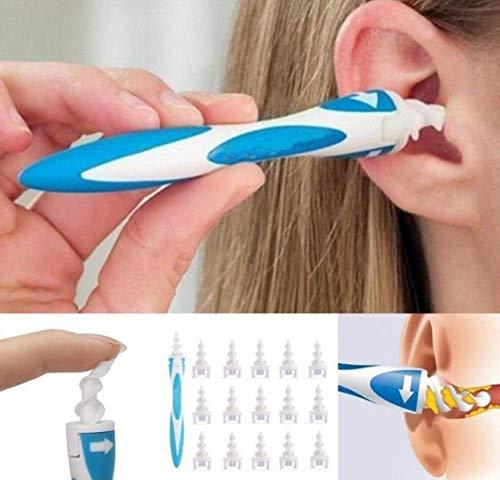 Pulitore intelligente per le orecchie, flessibile, con 16 tamponi di sicurezza a spirale, per rimuovere il cerume, facile da pulire