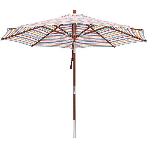 anndora® Sonnenschirm 3 m rund Gartenschirm Marktschirm knickbar - gestreift 7 Farben