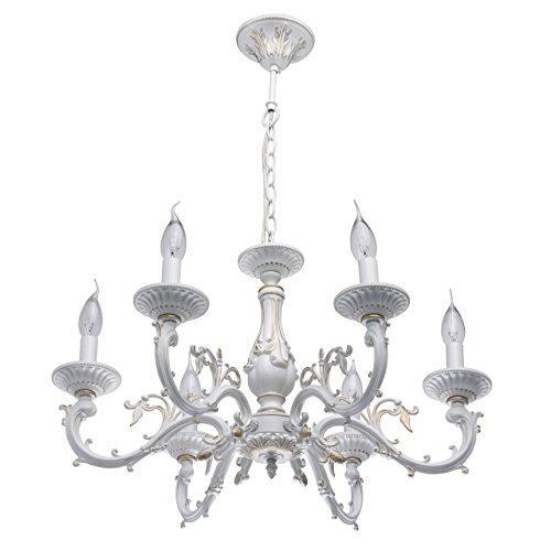 Lampadario da soffitto rustico di metallo colore bianco indorato da mano allegamento di alluminio 6 bracci in stile arte povera in soggiorno salotto o camera da letto 6 * 60w e14 - escl